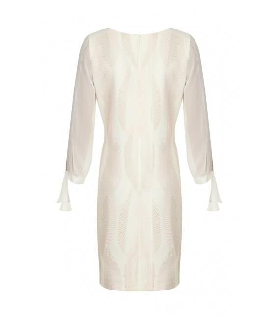 DRESS VALENTYNA ECRU LEAVES