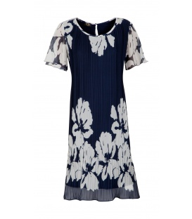 DRESS CHIARA DARK BLUE BLUMEN