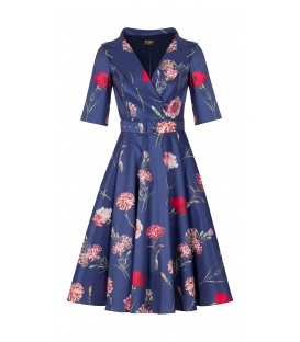 DRESS CHARLOTTE DARK BLUE CARNATIONS