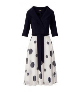 DRESS GLORIA ECRU DARK BLUE PEA
