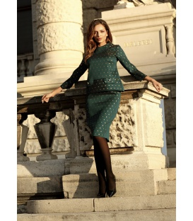Woman's suit ROMA OF ROM GREEN GOLDEN DOTS