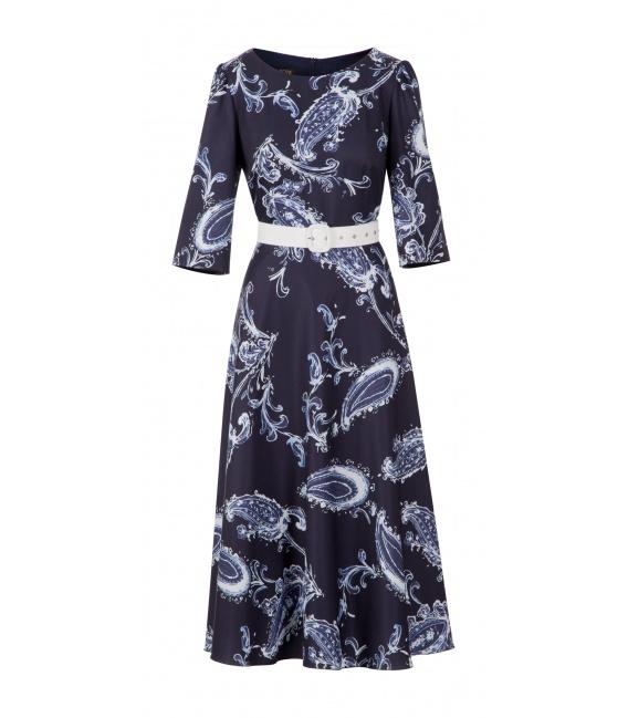 DRESS VENUS DARK BLUE LEAVES